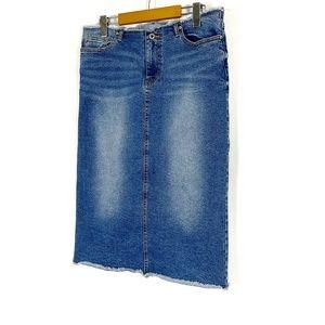 Mavi Jeans Denim Raw Hem Pencil Skirt XL